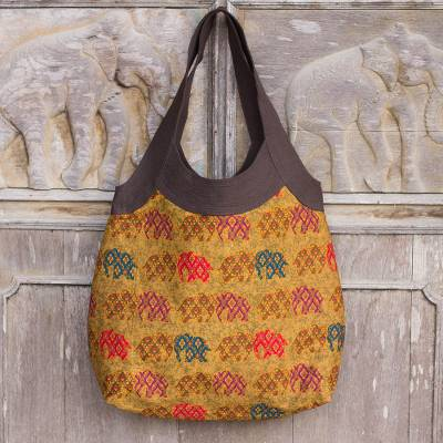 Cotton shoulder bag, 'Afternoon Parade of Elephants' - Womens Cotton Zippered Handbag with Elephants from Thailand