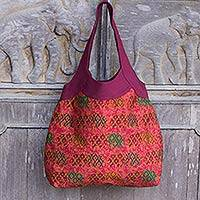 Cotton shoulder bag, 'Sunset Parade of Elephants' - Women's Cotton Shoulder Bag with Red Elephants from Thailand