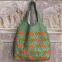 Cotton handbag, 'Morning Parade of Elephants' - Thai Women's Cotton Shoulder Bag with Green Elephants