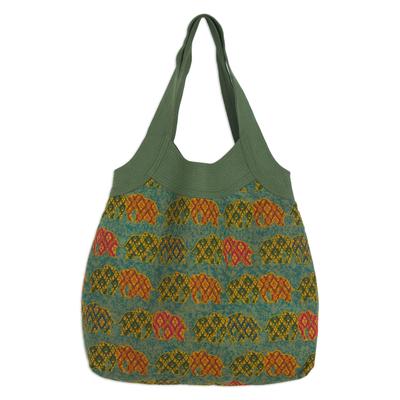 Novica Cotton handbag, Morning Parade of Elephants