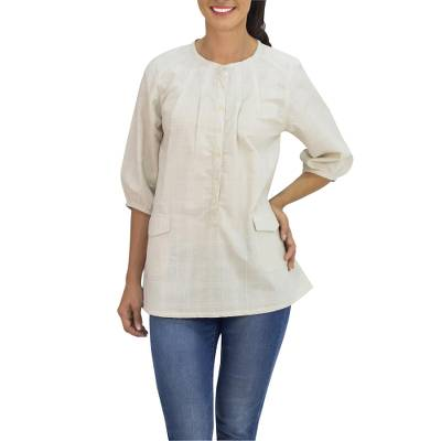 Cotton tunic, 'Nature Walk in Cream' - Cream Color Cotton Tunic with 2 Pockets from Thailand