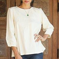 Cotton blouse, 'Cream Thai Style' - Cotton Blouse in Cream colour Round Neck and Long Sleeves