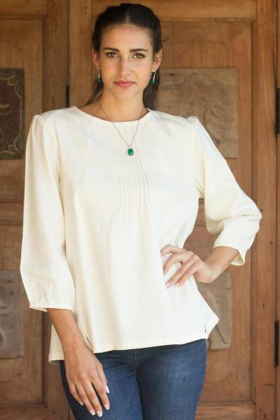Cotton blouse, Cream Thai Style