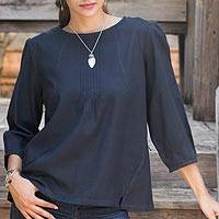 Cotton blouse, 'Navy Blue Thai Style' - Navy Blue Cotton Blouse Round Neck and Long Sleeves