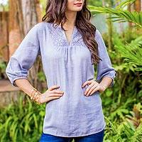 Cotton tunic, 'Poinsettia Blue' - Blue Semi Sheer Cotton Tunic with Floral Lace Details