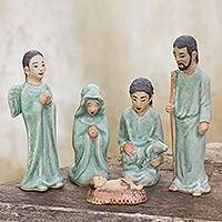 Celadon ceramic nativity scene, 'Blessed Nativity' (set of 5) - Hand Crafted Celadon Ceramic Nativity Statuettes (set of 5)