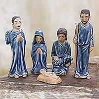 Celadon ceramic nativity scene, 'Blessed Nativity in Blue' (set of 5) - Hand Crafted Celadon Ceramic Nativity Statuettes (set of 5)