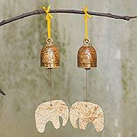 Ceramic ornaments, 'Elephant Greetings' (pair) - Ceramic Elephant Ornament Pair with Bells from Thailand