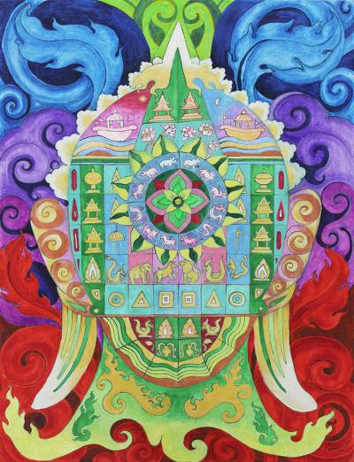 'Peacefulness' - Multicolored Acrylic Painting of Buddha on Canvas