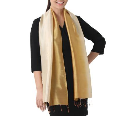 Rayon and silk blend scarf, 'Golden Brown Shimmer' - Golden Ombré Rayon and Silk Blend Scarf for Women