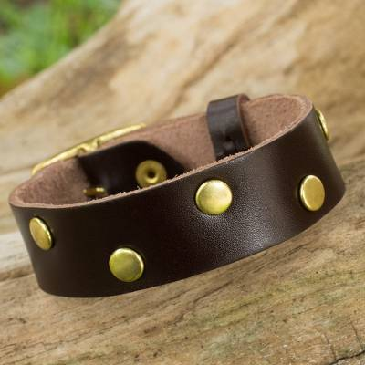 Leather wristband bracelet, Dance on Chocolate