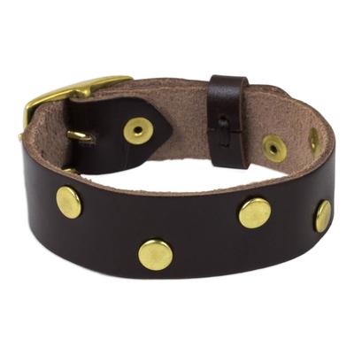Brown Leather Wristband Bracelet with Brass Stud Zigzag