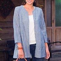 Cotton blouse, 'Thai Blue' - Semi Sheer Blue Cotton Blouse with Pockets from Thailand