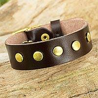 Leather wristband bracelet, 'Walk on Chocolate' - Brown Leather Wristband Bracelet with Brass Studs