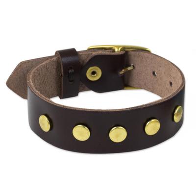 Brown Leather Wristband Bracelet with Brass Studs
