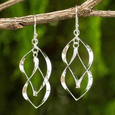 Sterling silver dangle earrings, 'Linking Leaves' - Thai Artisan Crafted Sterling Silver Dangle Earrings
