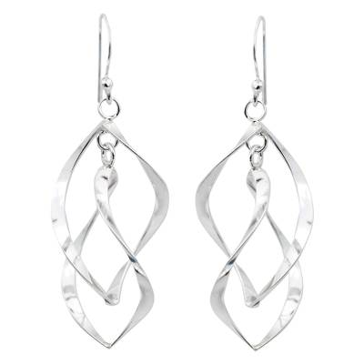 Thai Artisan Crafted Sterling Silver Dangle Earrings