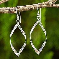 Sterling silver dangle earrings, 'Marquise Twirl' - Thai Sterling Silver Artisan Crafted Dangle Earrings