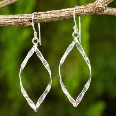 Sterling silver dangle earrings, 'Marquise Twirl' - Thai Sterling Silver Artisan Crafted Dangle Earrings