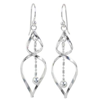Sterling silver dangle earrings, 'Jack-in-the-Pulpit' - Thai Fair Trade Polished 925 Sterling Silver Earrings