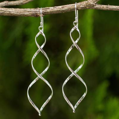 Sterling silver dangle earrings, 'Triple Helix' - Sterling Silver Artisan Crafted Long Earrings from Thailand
