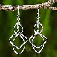 Sterling silver dangle earrings, 'Whirling WInd'