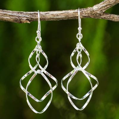 Sterling silver dangle earrings, 'Whirling WInd' - Hand Crafted Sterling Silver 925 Dangle Style Earrings