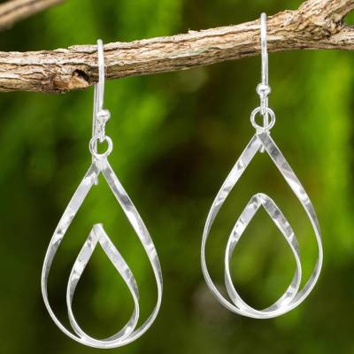 Sterling silver dangle earrings, 'Lotus Flame' - Polished Sterling 925 Fair Trade Floral Earrings