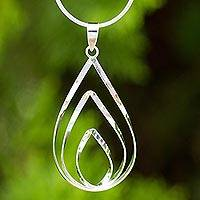 Sterling silver pendant necklace, 'Lotus Flame' - Polished Sterling 925 Fair Trade Pendant Necklace