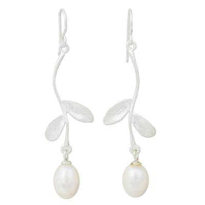 Cultured pearl dangle earrings, 'White Jasmine Bud' - Hand Crafted Burnished 925 Sterling Silver Artisan Long Dang