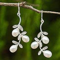 Cultured pearl dangle earrings, 'Jasmine Bud Cluster' - Silver Floral Dangle Earrings with White Cultured Pearls