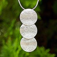 Sterling silver pendant necklace, 'Full Moon Trio' - Sterling 925 Fair Trade Pendant Necklace