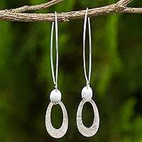 Sterling silver dangle earrings, 'Peony Petal' - Brushed Sterling Silver Fair Trade Earrings from Thailand