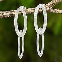 Sterling silver dangle earrings, 'Satin Connection' - Handcrafted Contemporary Sterling Silver Dangle Earrings