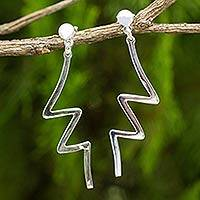 Sterling silver dangle earrings, 'Thunderbolt' - Abstract Geometric Dangle Earrings in Sterling Silver
