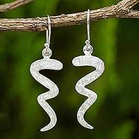 Sterling silver dangle earrings, 'Satin Serpent' - Abstract Sterling Silver Dangle Earrings