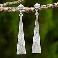Sterling silver dangle earrings, 'Modern Touch' - Silver Dangle Earrings from Thailand