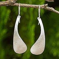 Sterling silver dangle earrings, 'Daisy Petal' - Handcrafted Brushed Sterling Silver Earrings from Thailand