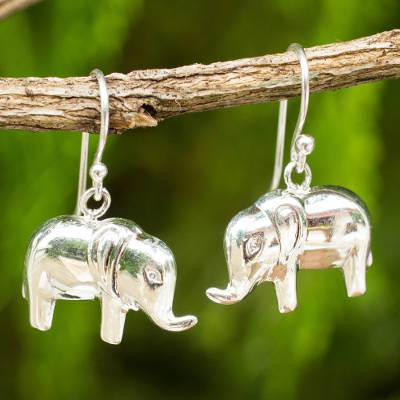 Sterling silver dangle earrings, 'Petite Pachyderm' - Sterling Silver Handcrafted High Polish Elephant Earrings