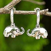 Sterling silver dangle earrings, 'Portly Pachyderm' - Handcrafted Elephant Earrings in Polished Sterling Silver