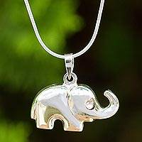 Sterling silver pendant necklace, 'Petite Pachyderm' - Thai Sterling Silver Handcrafted Elephant Pendant Necklace