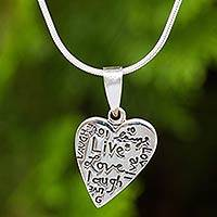 Sterling silver pendant necklace, 'Live, Love, Laugh'