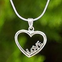 Sterling silver pendant necklace, 'Love in My Heart' - Thai Artisan Crafted Sterling Silver Heart Necklace