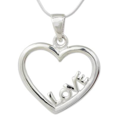 Thai Artisan Crafted Sterling Silver Heart Necklace