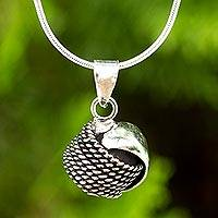 Sterling silver pendant necklace, 'Chic Knot'