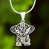 Sterling silver pendant necklace, 'Elephant Gaze'