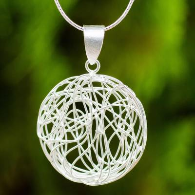Sterling silver pendant necklace, 'Spherical Illusion' - Handmade Sterling Silver Necklace with Circular Pendant