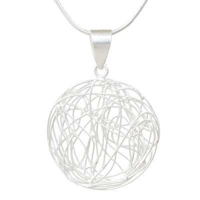 Handmade Sterling Silver Necklace with Circular Pendant