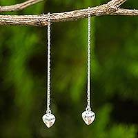 Sterling silver threader earrings, 'Chain of Love' - Sterling Silver Dangle Threader Earrings with Hearts