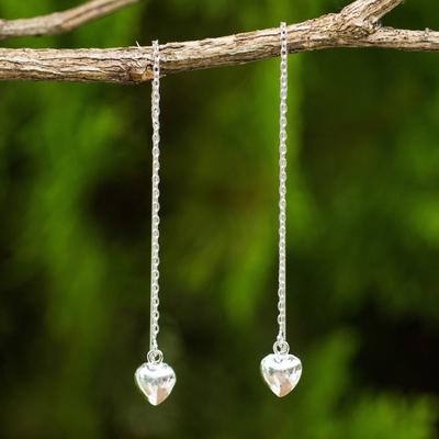 Sterling silver threader earrings, 'Chain of Love' - Sterling Silver Dangle Threader Earrings with Hearts